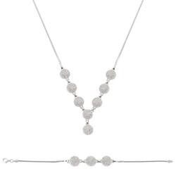 Tekbir Silver - Gümüş Beyaz Taşlı Bayan Set