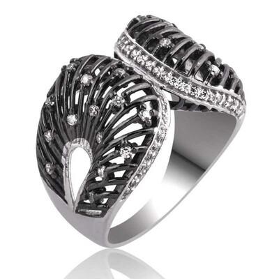 Tekbir Silver - Gümüş Beyaz Taşlı Bayan Yüzük