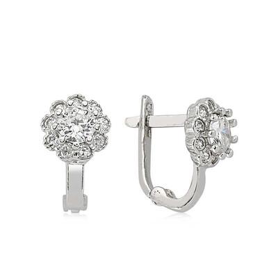 Tekbir Silver - Gümüş Beyaz Taşlı Çiçek Küpe