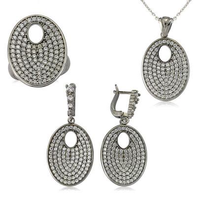 Tekbir Silver - Gümüş Beyaz Taşlı Oval Bayan Set