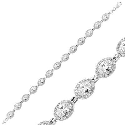 Tekbir Silver - Gümüş Beyaz Taşlı Su Yolu Bayan Bileklik