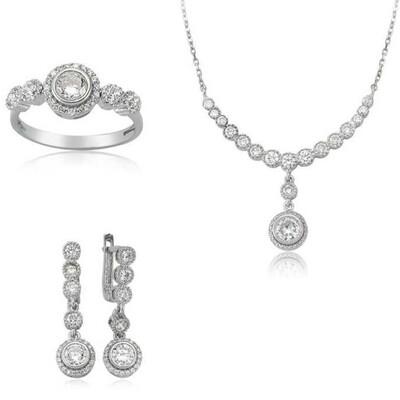 Tekbir Silver - Gümüş Beyaz Taşlı Su Yolu Bayan Set