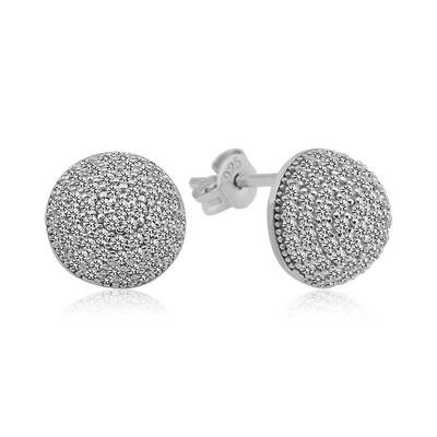 Tekbir Silver - Gümüş Beyaz Taşlı Top Küpe
