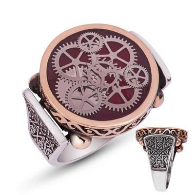 Tekbir Silver - Gümüş Bordo Saat Çarkı Erkek Yüzük