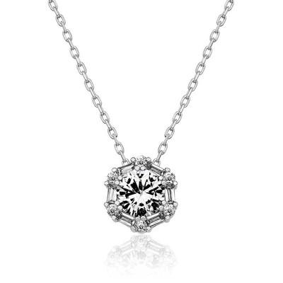 Gumush - Gümüş Buz Beyazı Baget Taşlı Bayan Kolye