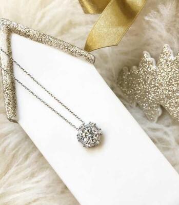 Gumush - Gümüş Buz Beyazı Baget Taşlı Bayan Kolye (1)