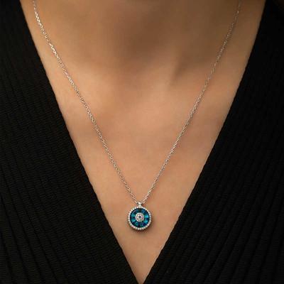 Gümüş Camgöz Nazar Set - Thumbnail