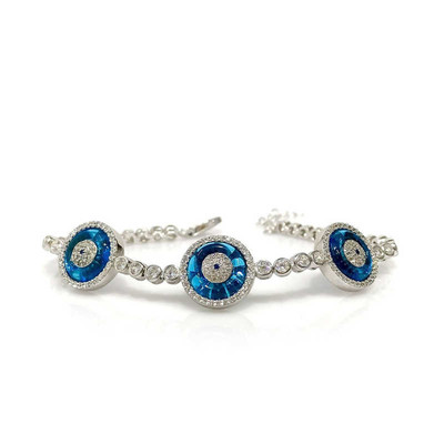 Tekbir Silver - Gümüş Camgöz Üçlü Suyolu Nazar Bileklik