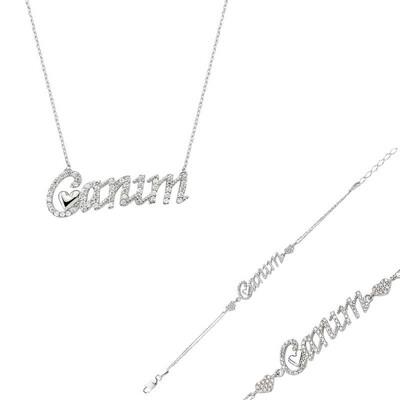 Tekbir Silver - Gümüş Canım Yazılı Kalp Bayan Set