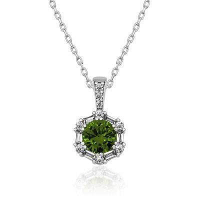 Gumush - Gümüş Ceviz Yeşili Baget Taşlı Bayan Kolye