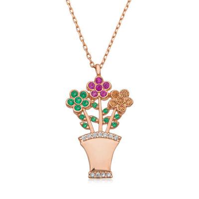 Tekbir Silver - Gümüş Çiçek Buketi Bayan Kolye