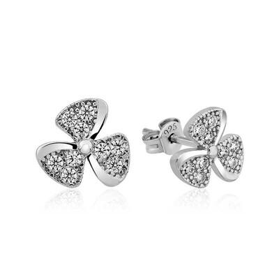 Gumush - Gümüş Çiçek Çivili Bayan Küpe