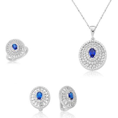 Tekbir Silver - Gümüş Çiçek Desenli Bayan Set