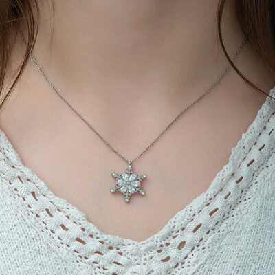 Gumush - Gümüş Çiçek Desenli Kar Kanesi Bayan Kolye (1)