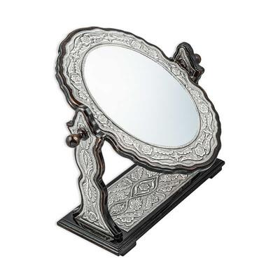 Gumush - Gümüş Çiçek Desenli Oval Çift Taraflı Ayna (1)