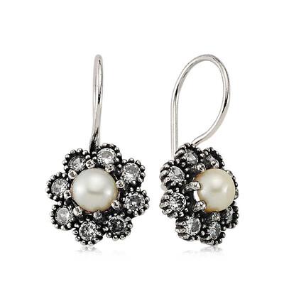 Tekbir Silver - Gümüş Çiçek İnci Küpe (1)