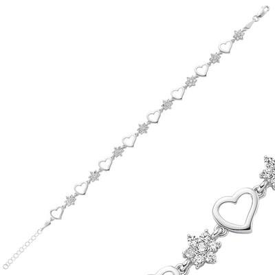 Tekbir Silver - Gümüş Çiçek Kalp Bayan Bileklik