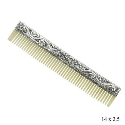 Tekbir Silver - Gümüş Çiçek Motifli Kemik Tarak