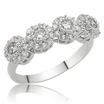 Tekbir Silver - Gümüş Çiçekli 5 Taş Bayan Yüzük