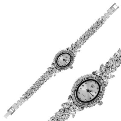 Tekbir Silver - Gümüş Çiçekli Zirkon Bayan Saat