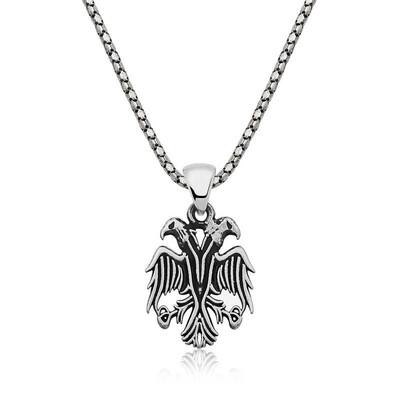 Tekbir Silver - Gümüş Çift Başlı Kartal Erkek Kolye
