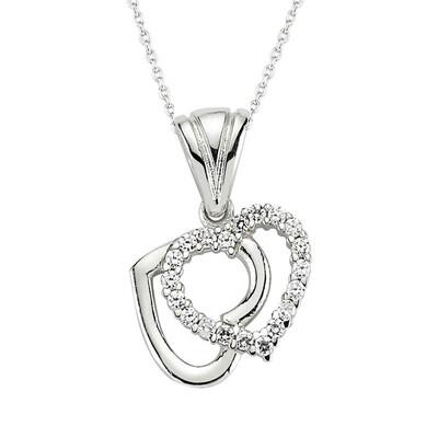 Tekbir Silver - Gümüş Çift Kalpli Bayan Kolye