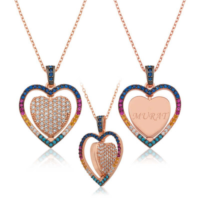 Tekbir Silver - Gümüş Çift Taraflı Kişiye Özel Kalp Kolye