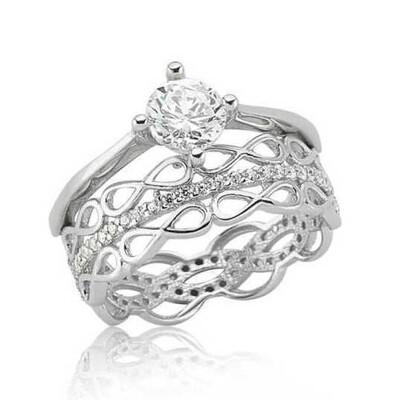 Tekbir Silver - Gümüş Çift Taraflı Sonsuzluk Tek Taş Bayan Yüzük