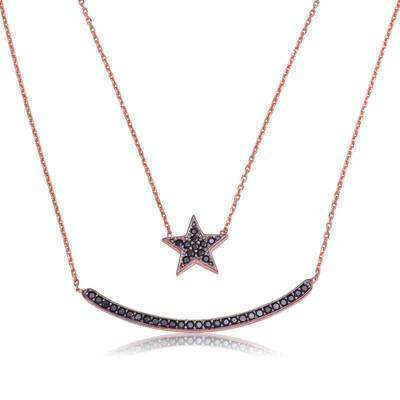 Tekbir Silver - Gümüş Çift Zincirli Ay Yıldız Bayan Kolye