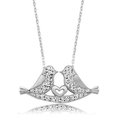 Tekbir Silver - Gümüş Çifte Kumrular Bayan Kolye
