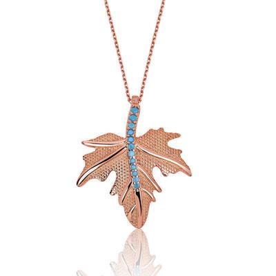 Tekbir Silver - Gümüş Çınar Yaprağı Bayan Kolye