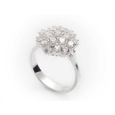 Tekbir Silver - Gümüş Çok Taşlı Bayan Yüzük
