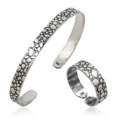 Tekbir Silver - Gümüş Damla Desenli Bileklik Ve Yüzük Set