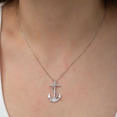 Gumush - Gümüş Deniz Çapası Bayan Kolye (1)