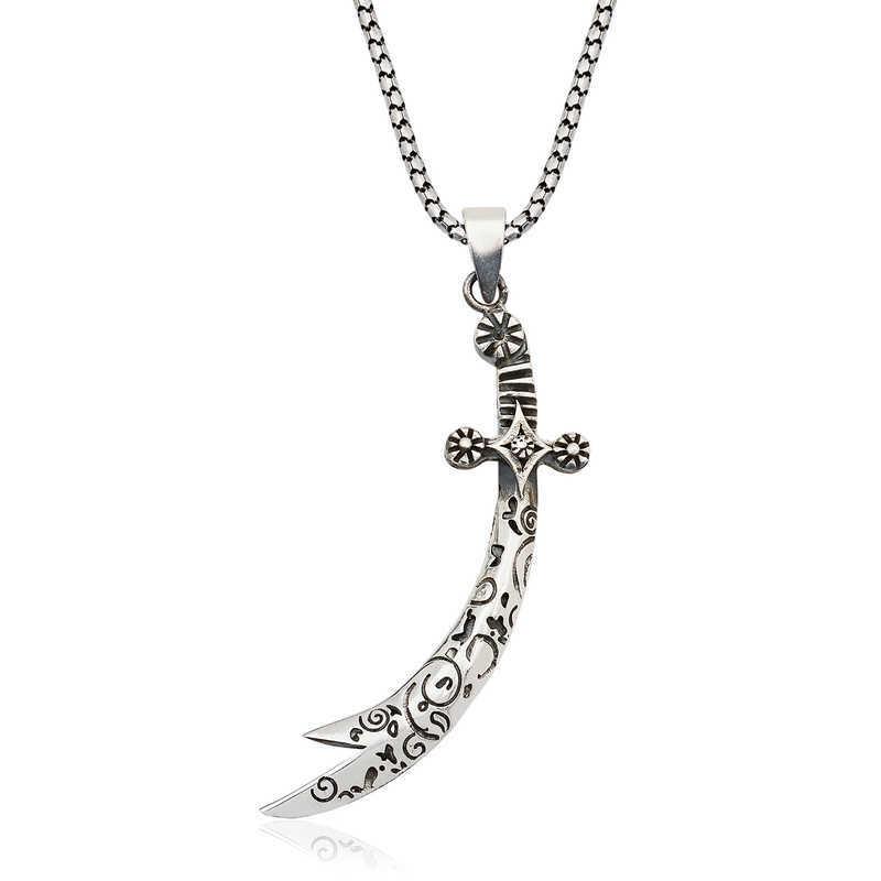 Gümüş Desenli Zülfikar Kılıcı Kolye
