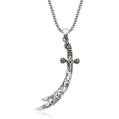 Tekbir Silver - Gümüş Desenli Zülfikar Kılıcı Kolye