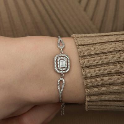 Gumush - Gümüş Dikdörtgen Baget Bileklik (1)