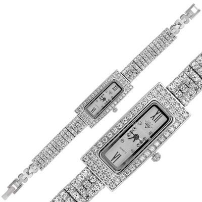 Tekbir Silver - Gümüş Dikdörtgen Zirkon Taşlı Bayan Saat