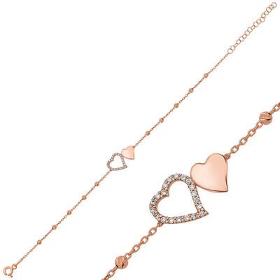 Tekbir Silver - Gümüş Dorissa İki Kalp Bayan Bileklik