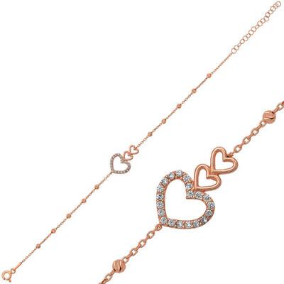 Tekbir Silver - Gümüş Dorissa Üç Kalp Bileklik