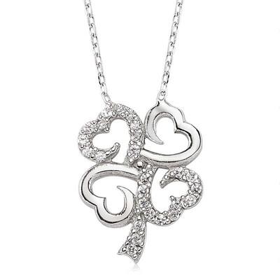 Tekbir Silver - Gümüş Dört Yapraklı Yonca Bayan Kolye