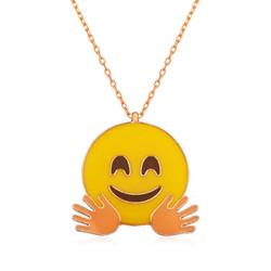 Tekbir Silver - Gümüş El Sallayan Emoji Bayan Kolye