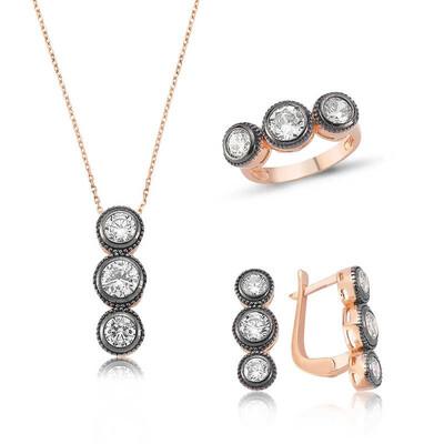 Tekbir Silver - Gümüş Elmas Model 3 Taş Tria Bayan Set