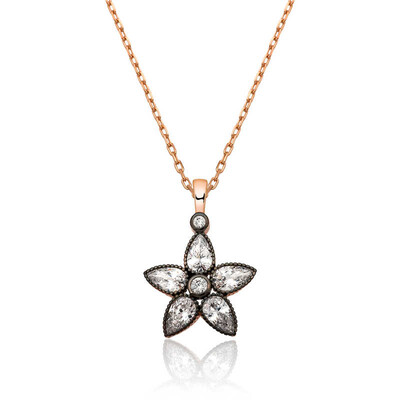 Tekbir Silver - Gümüş Elmas Montür Çiçek Bayan Kolye