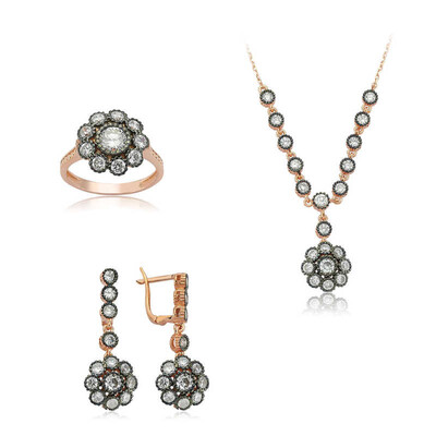 Tekbir Silver - Gümüş Elmas Montür Çiçek Bayan Set
