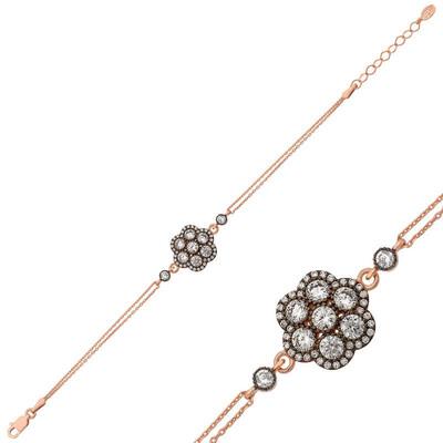 Tekbir Silver - Gümüş Elmas Montür Çiçek Bileklik