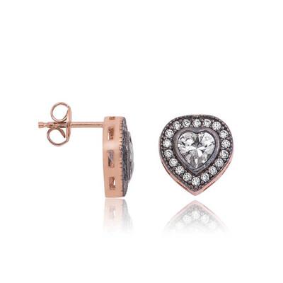 Tekbir Silver - Gümüş Elmas Montür Kalp Çivili Küpe