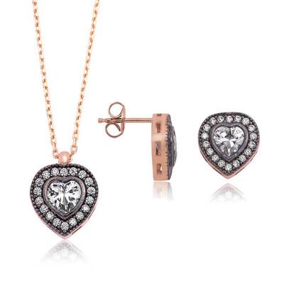 Tekbir Silver - Gümüş Elmas Montur Kalpli Bayan Set