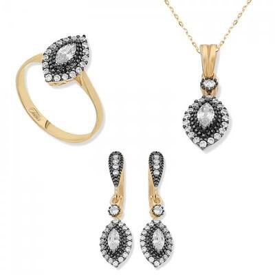 Tekbir Silver - Gümüş Elmas Montür Mekik Bayan Set