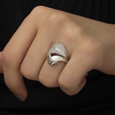 Tekbir Silver - Gümüş Fantazi Model Bayan Yüzük (1)